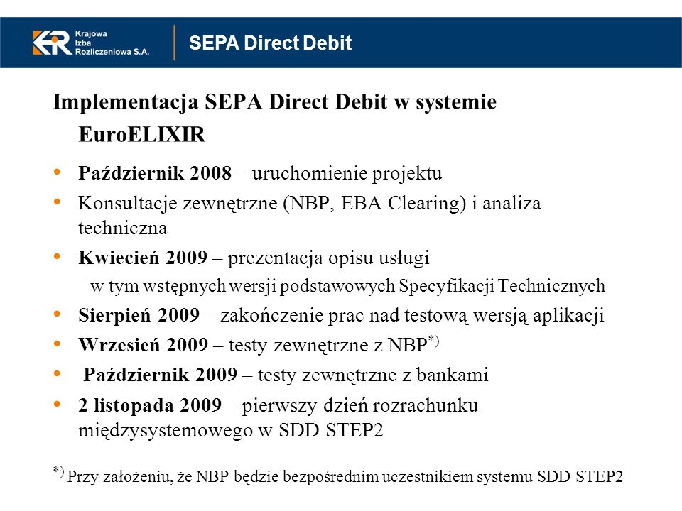 Implementacja SEPA Direct Debit w systemie EuroELIXIR