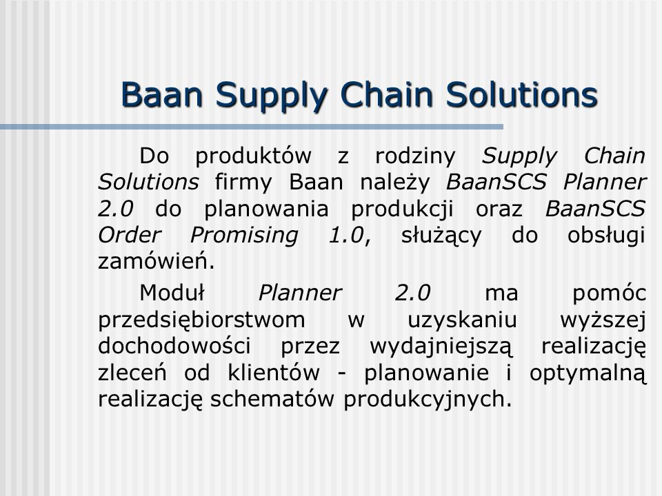 Baan Supply Chain Solutions