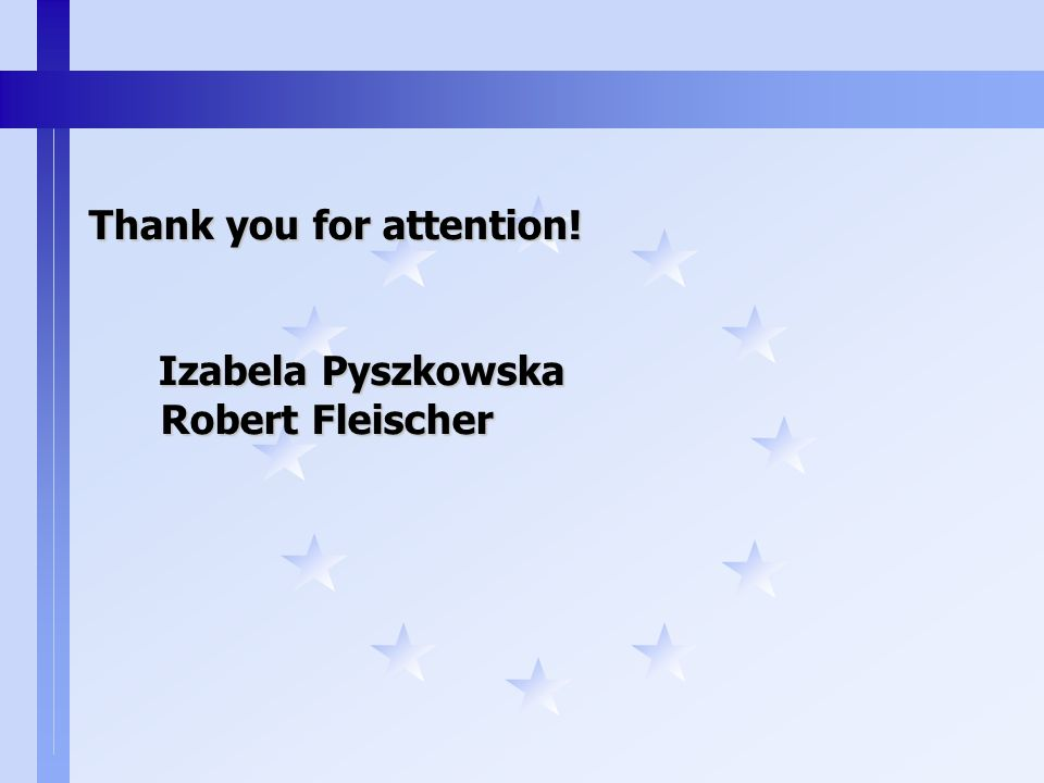 Thank you for attention! Izabela Pyszkowska Robert Fleischer