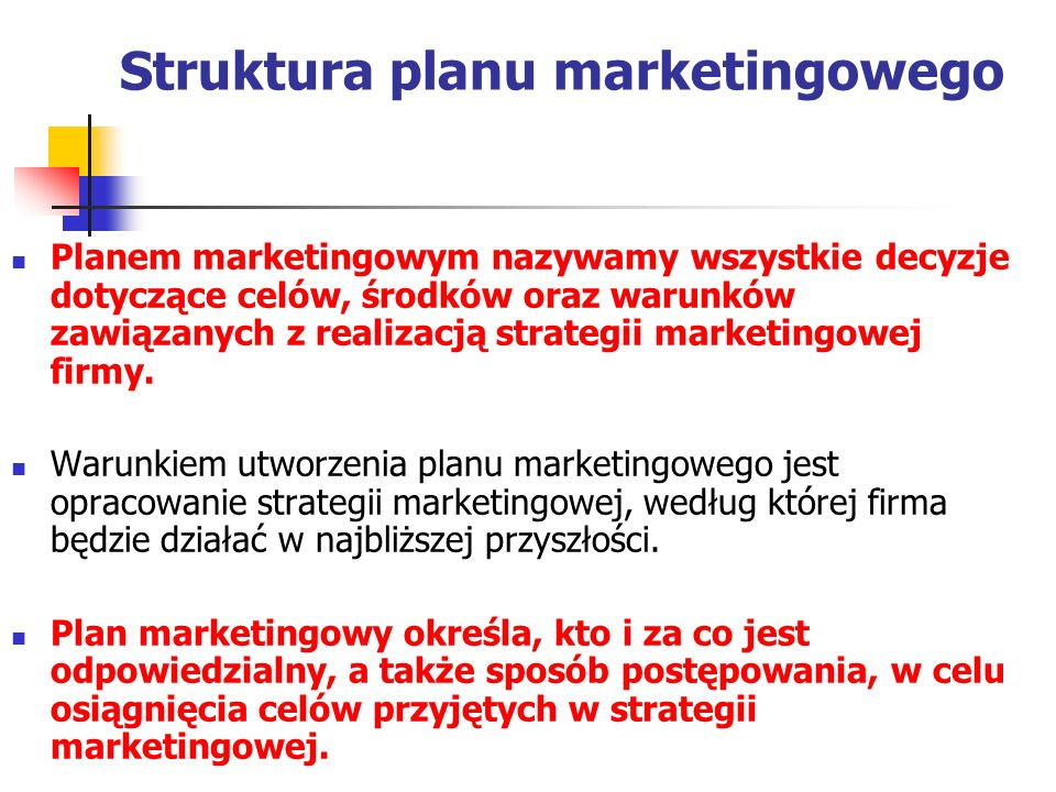 Struktura planu marketingowego