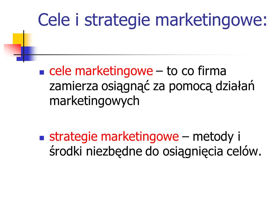 Cele i strategie marketingowe: