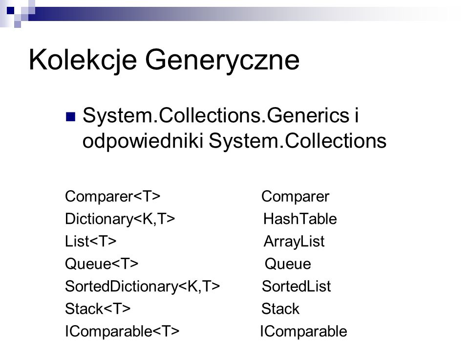 Kolekcje Generyczne System.Collections.Generics i odpowiedniki System.Collections. Comparer<T> Comparer.