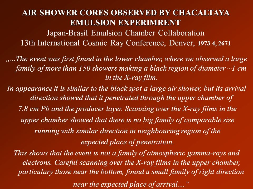 AIR SHOWER CORES OBSERVED BY CHACALTAYA EMULSION EXPERIMRENT Japan-Brasil Emulsion Chamber Collaboration 13th International Cosmic Ray Conference, Denver, 1973 4, 2671