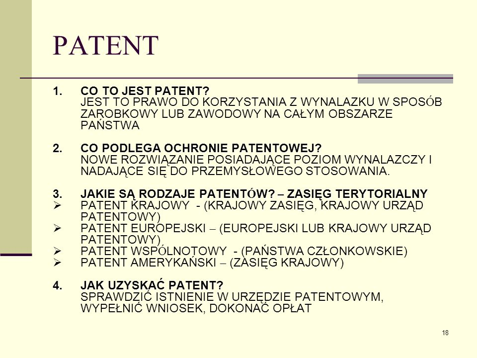 PATENT CO TO JEST PATENT