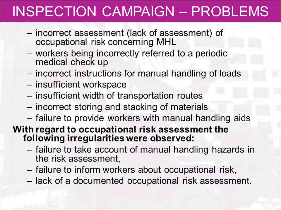 INSPECTION CAMPAIGN – PROBLEMS