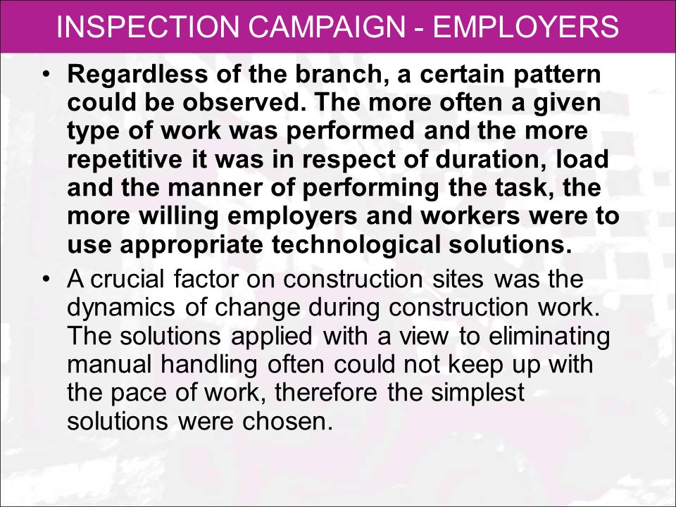 INSPECTION CAMPAIGN - EMPLOYERS