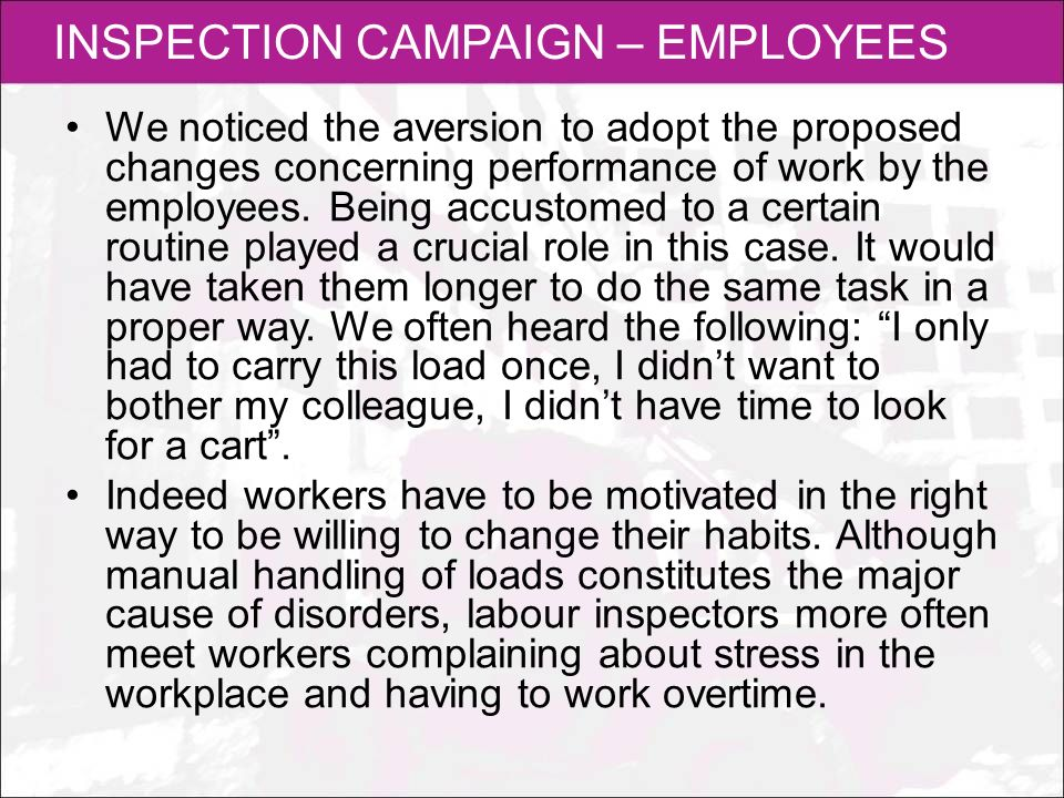 INSPECTION CAMPAIGN – EMPLOYEES