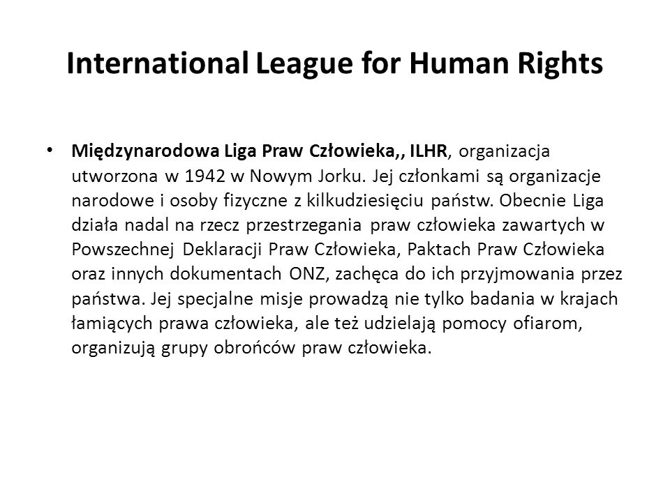 International League for Human Rights