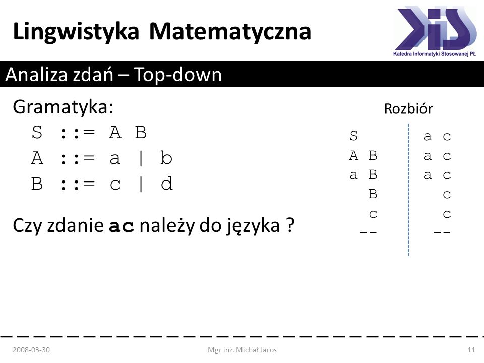 Analiza zdań – Top-down
