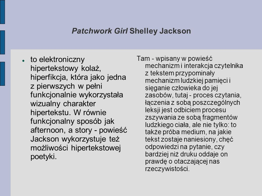Patchwork Girl Shelley Jackson