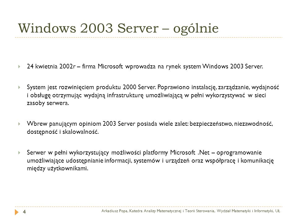 Windows 2003 Server – ogólnie