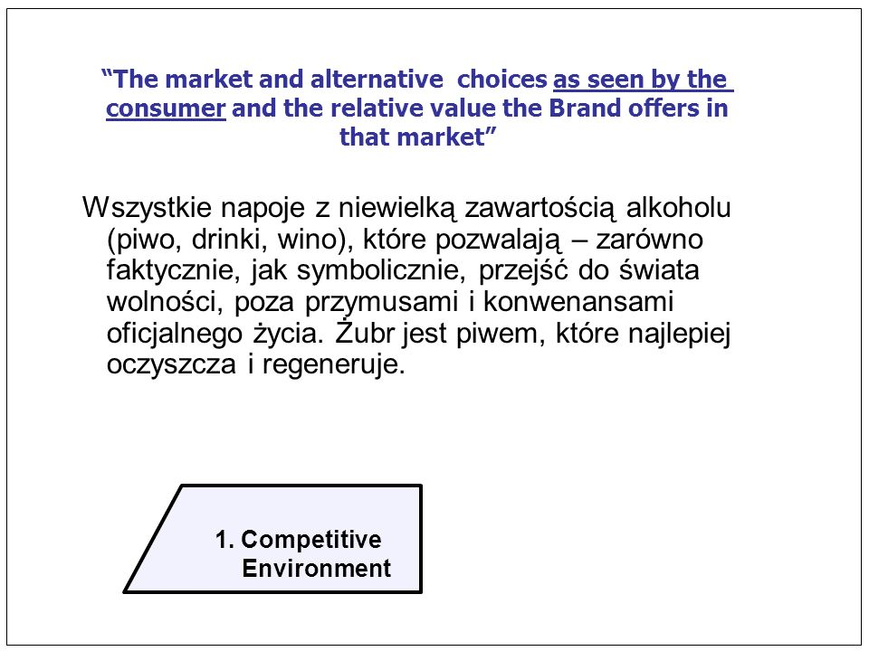 1. Competitive Environment. The market and alternative choices as seen by the. consumer and the relative value the Brand offers in.