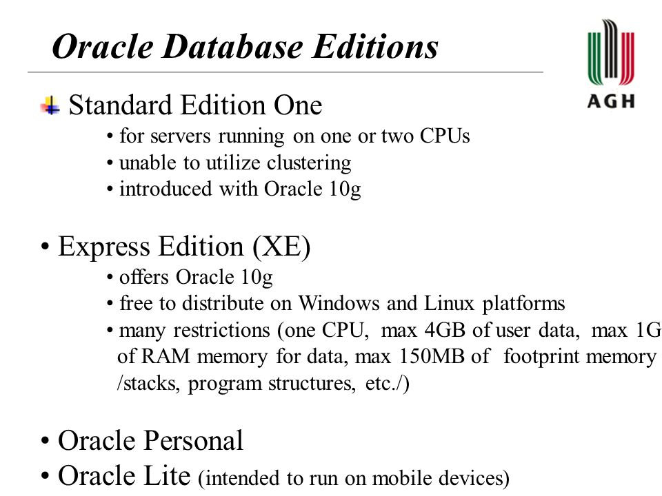 Oracle Database Editions