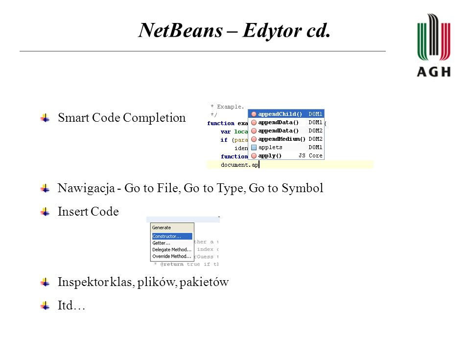NetBeans – Edytor cd. Smart Code Completion