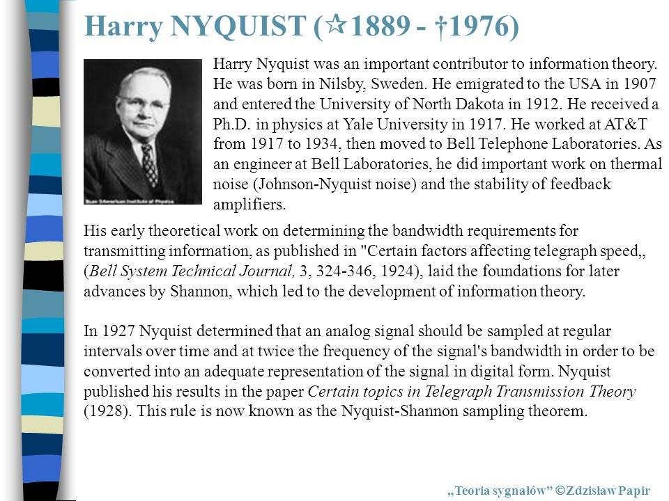 Harry NYQUIST (1889 - †1976)