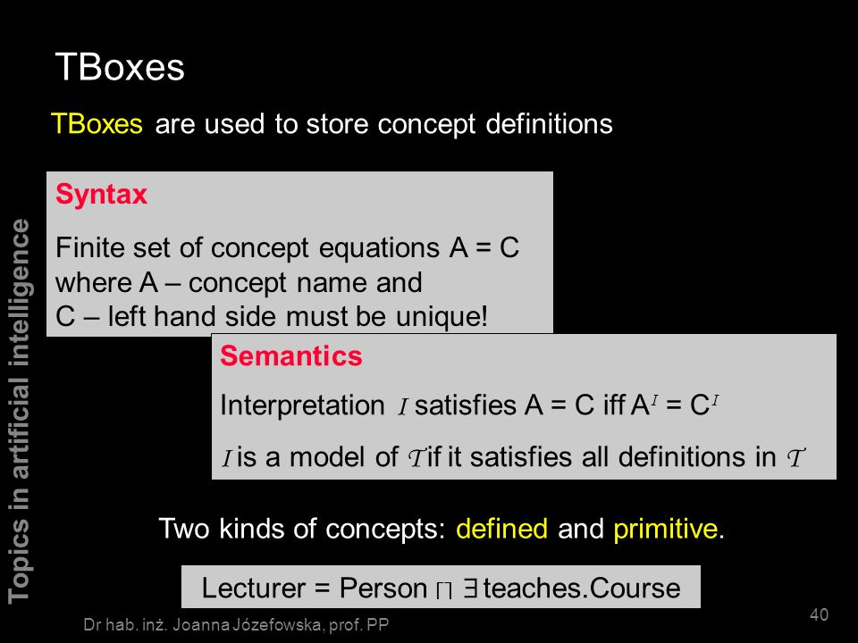 TBoxes TBoxes are used to store concept definitions Syntax