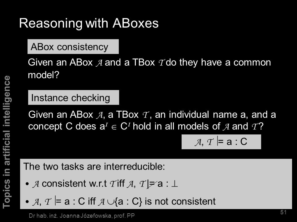 Reasoning with ABoxes ABox consistency