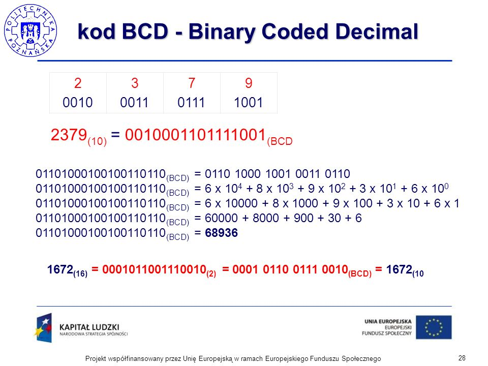 kod BCD - Binary Coded Decimal