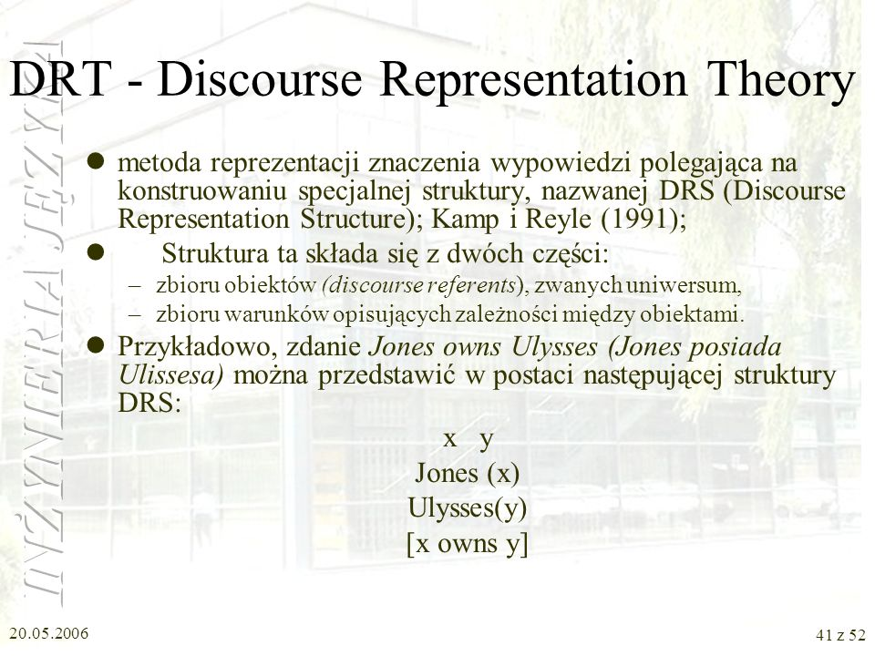 DRT - Discourse Representation Theory