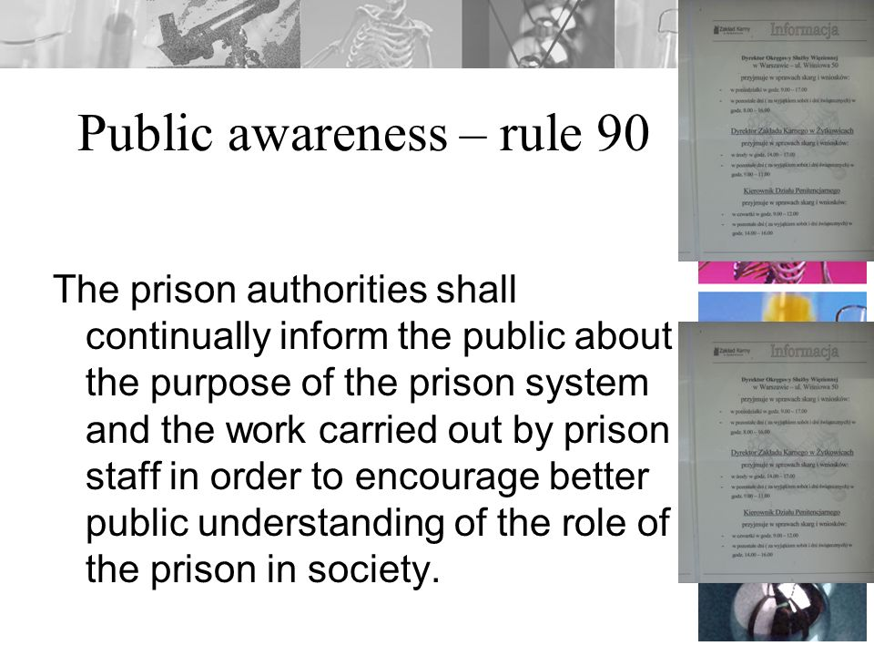 Public awareness – rule 90