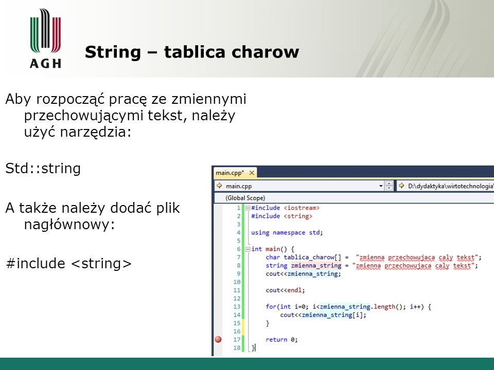 String – tablica charow