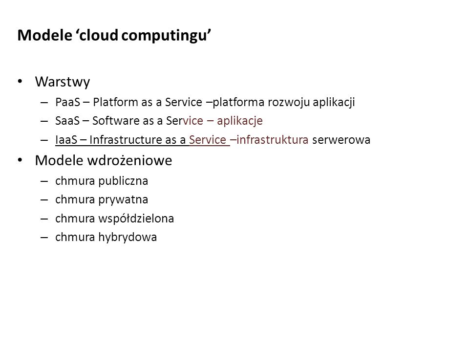 Modele 'cloud computingu'