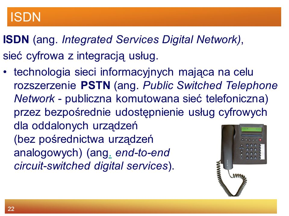 ISDN ISDN (ang. Integrated Services Digital Network),