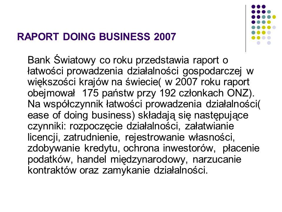 RAPORT DOING BUSINESS 2007