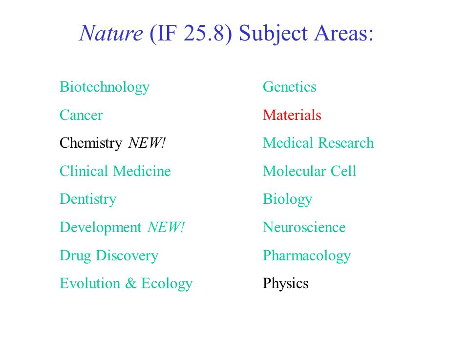 Nature (IF 25.8) Subject Areas: