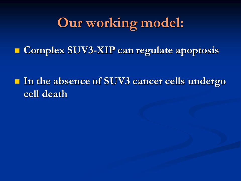 Our working model: Complex SUV3-XIP can regulate apoptosis