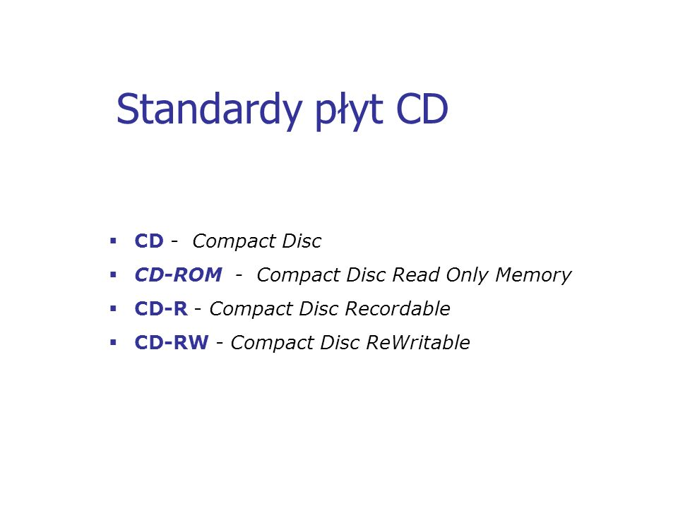 Standardy płyt CD CD - Compact Disc
