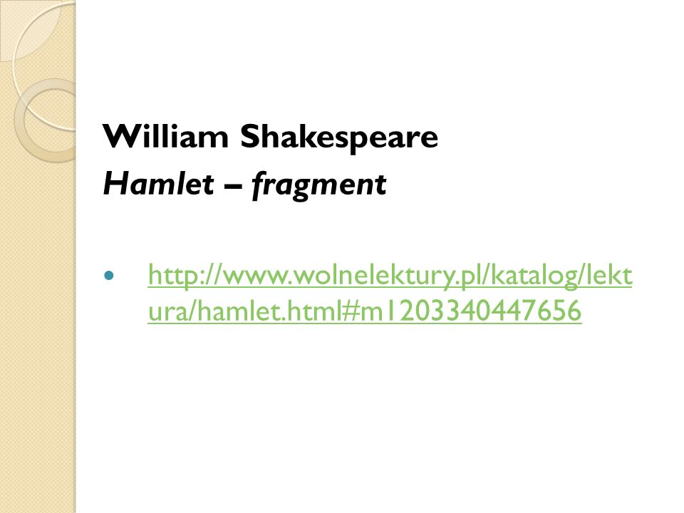 William Shakespeare Hamlet – fragment