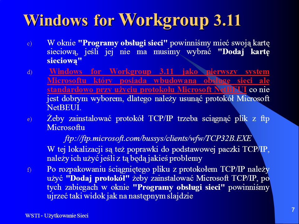 Windows for Workgroup 3.11