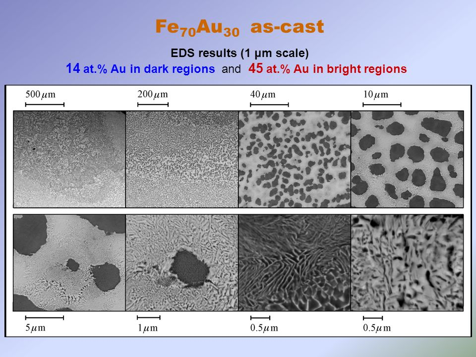 14 at.% Au in dark regions and 45 at.% Au in bright regions