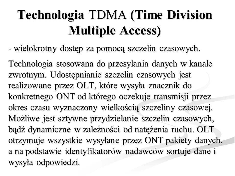 Technologia TDMA (Time Division Multiple Access)