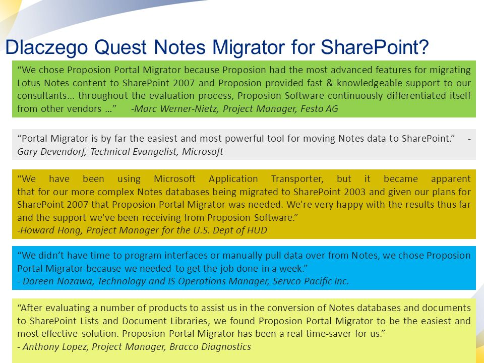 Dlaczego Quest Notes Migrator for SharePoint