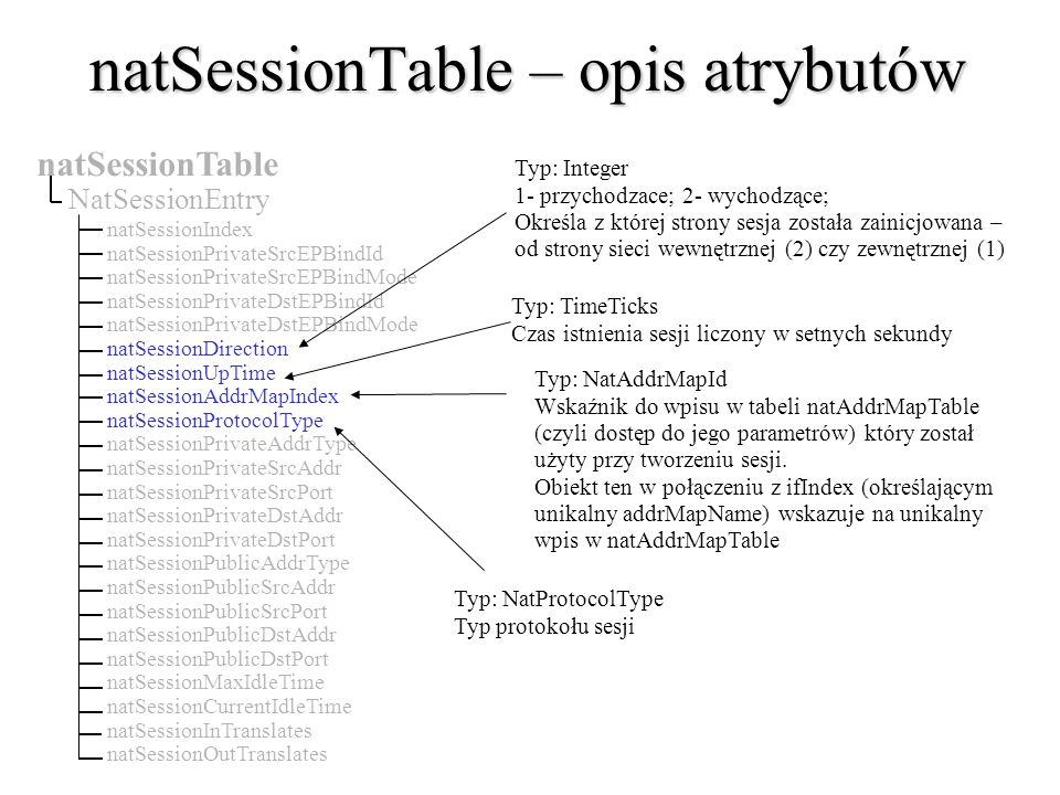 natSessionTable – opis atrybutów