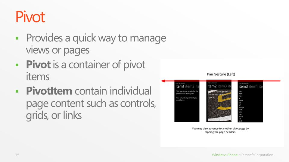 Pivot Provides a quick way to manage views or pages