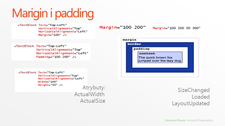 Marigin i padding Atrybuty: ActualWidth SizeChanged Loaded ActualSize