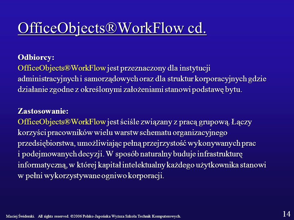 OfficeObjects®WorkFlow cd.