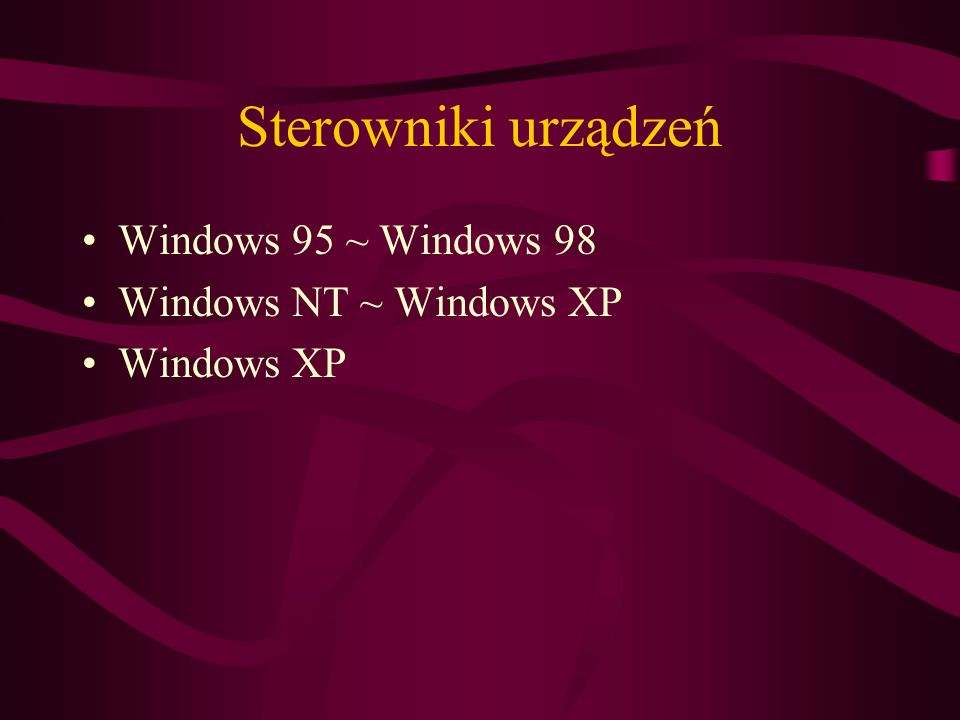 Sterowniki urządzeń Windows 95 ~ Windows 98 Windows NT ~ Windows XP