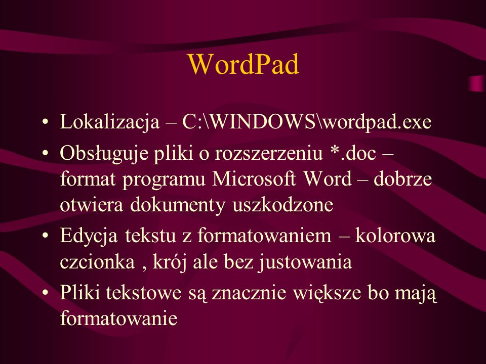 WordPad Lokalizacja – C:\WINDOWS\wordpad.exe