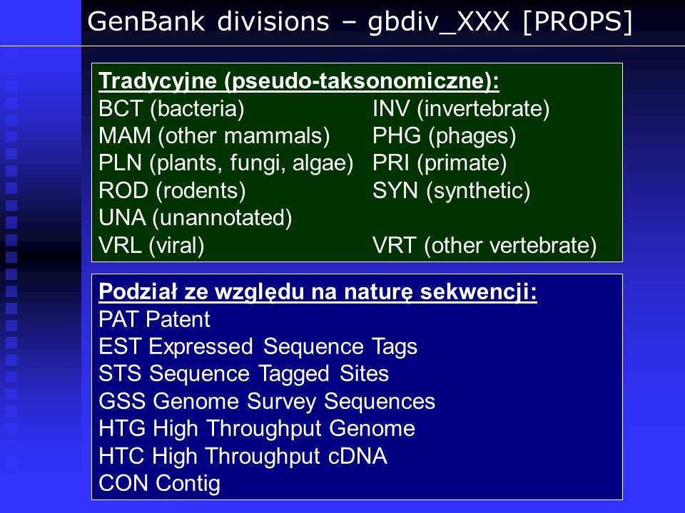 GenBank divisions – gbdiv_XXX [PROPS]