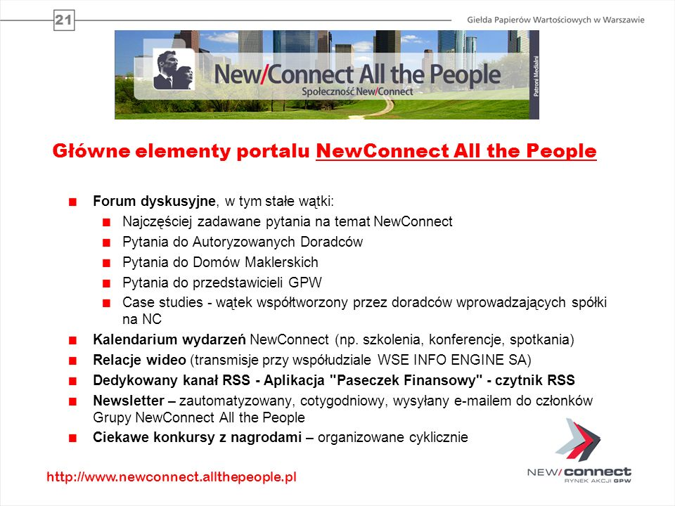 Główne elementy portalu NewConnect All the People