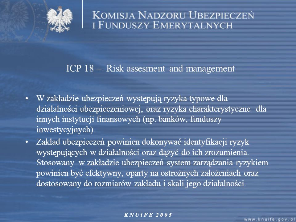 ICP 18 – Risk assesment and management