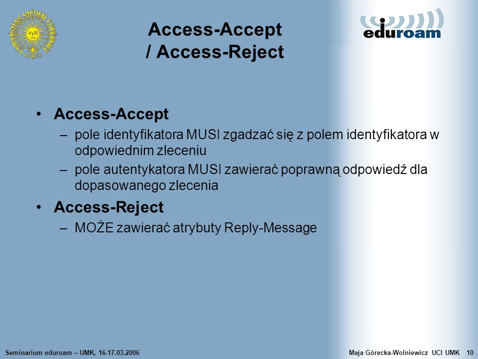 Access-Accept / Access-Reject