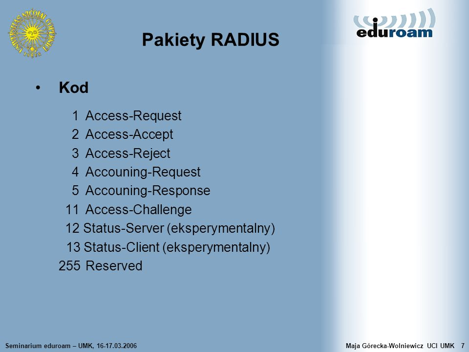 Pakiety RADIUS Kod 1 Access-Request 2 Access-Accept 3 Access-Reject