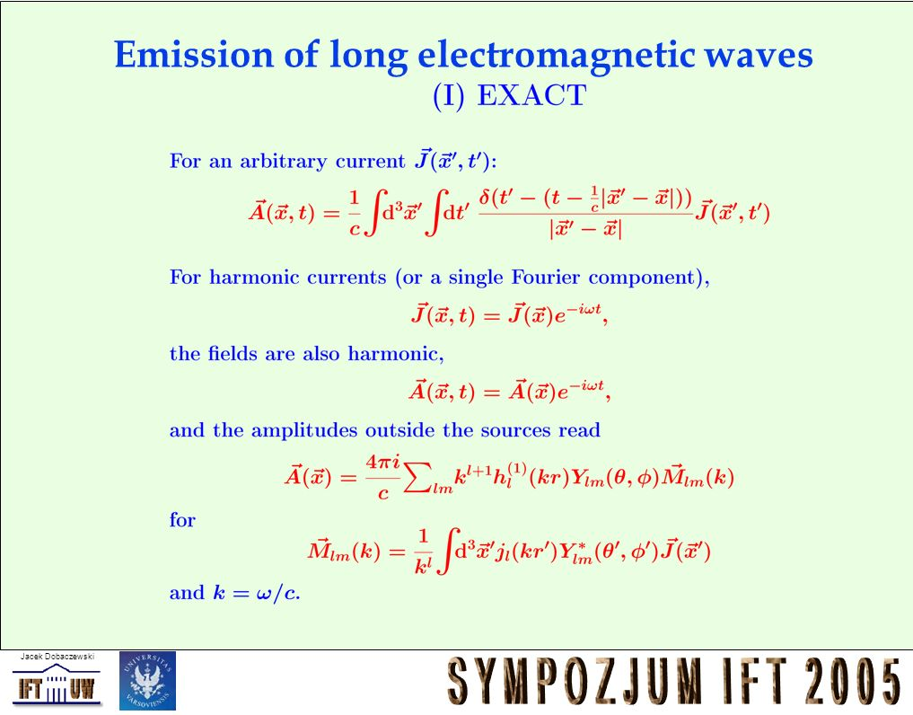 Emission of long electromagnetic waves