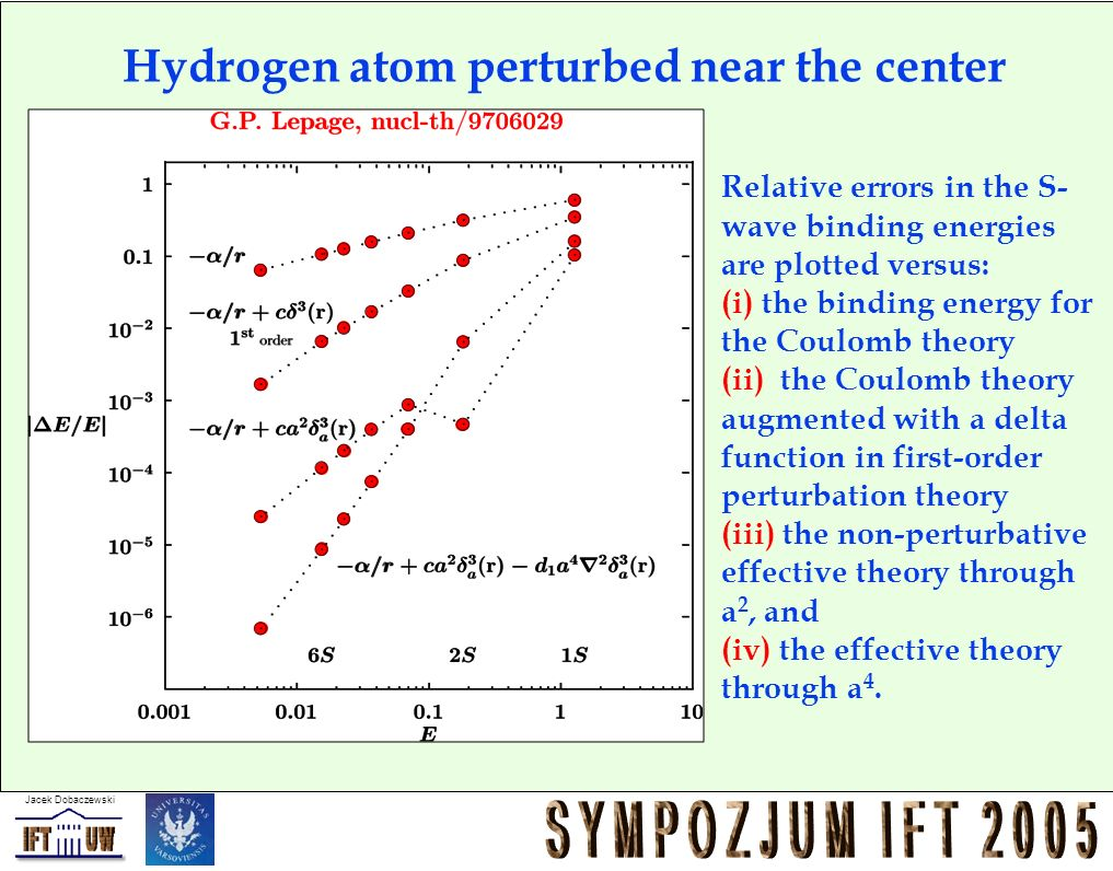 Hydrogen atom perturbed near the center