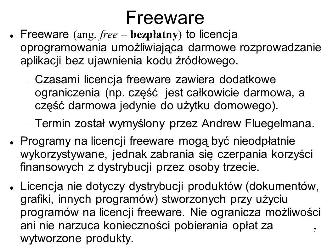 25b79be88c3d11 Freeware Freeware (ang. free – bezpłatny) to licencja oprogramowania  umożliwiająca darmowe rozprowadzanie aplikacji